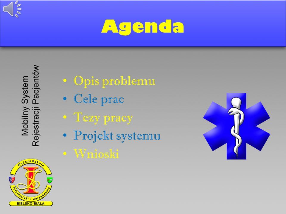 Agenda Opis problemu Cele prac Tezy pracy Projekt systemu Wnioski