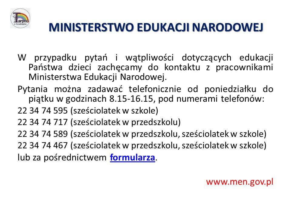 MINISTERSTWO EDUKACJI NARODOWEJ W przypadku pytań i wątpliwości dotyczących edukacji Państwa dzieci zachęcamy do kontaktu z pracownikami Ministerstwa Edukacji Narodowej.