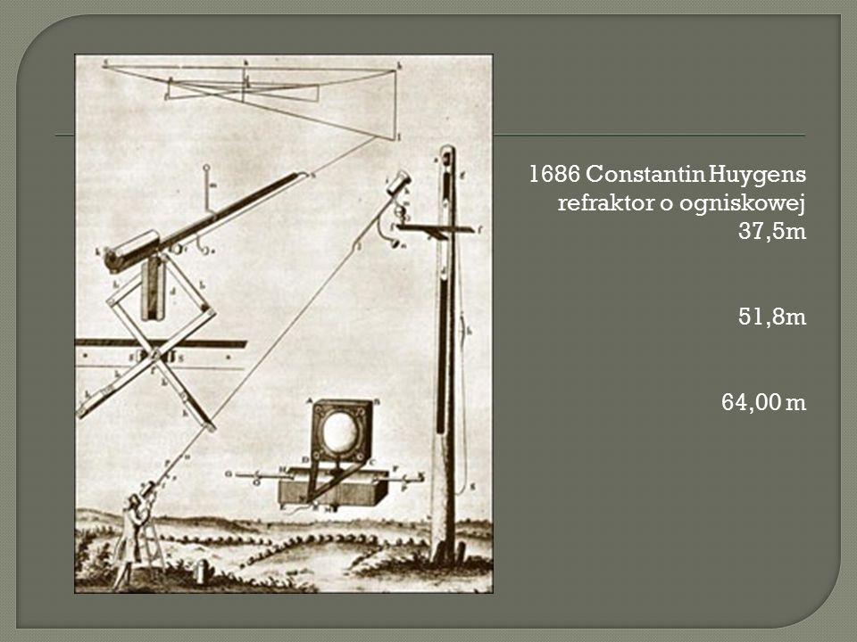 1686 Constantin Huygens refraktor o ogniskowej 37,5m 51,8m 64,00 m