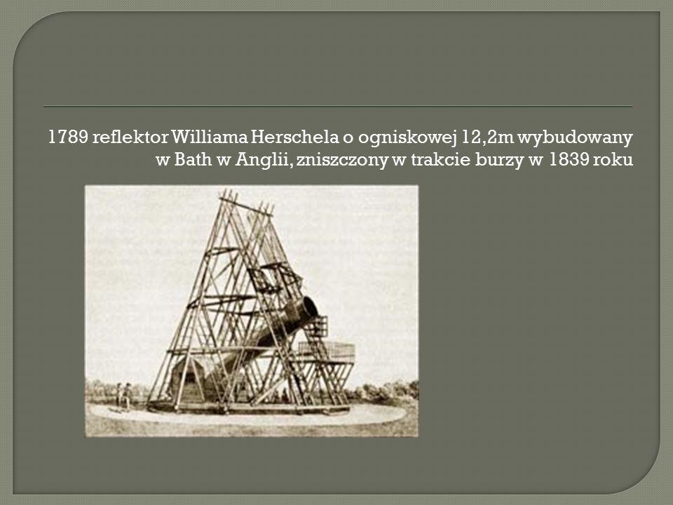 1789 reflektor Williama Herschela o ogniskowej 12,2m wybudowany w Bath w Anglii, zniszczony w trakcie burzy w 1839 roku