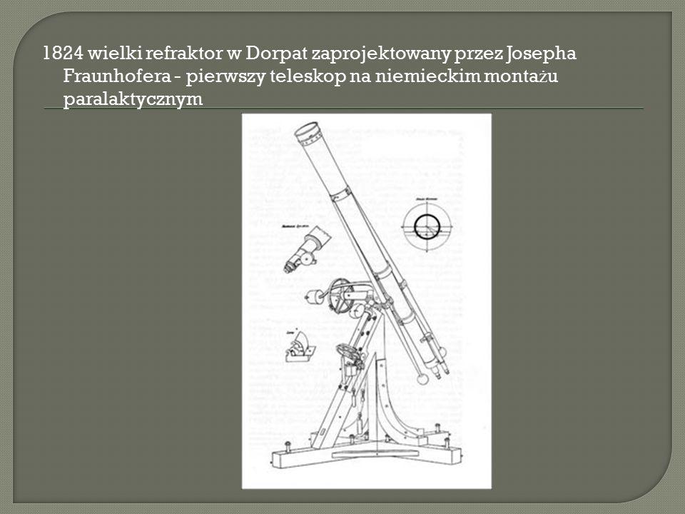 1824 wielki refraktor w Dorpat zaprojektowany przez Josepha Fraunhofera - pierwszy teleskop na niemieckim monta ż u paralaktycznym