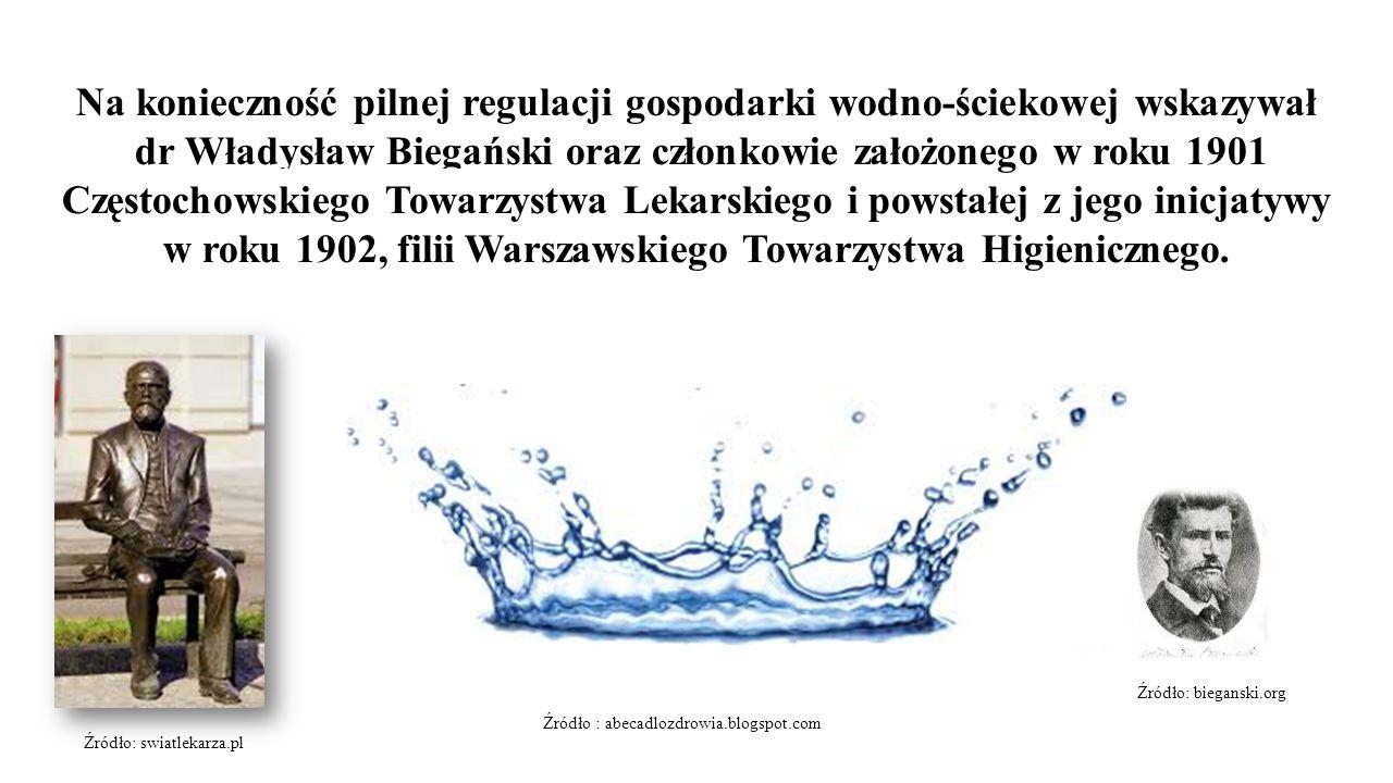 Na konieczność pilnej regulacji gospodarki wodno-ściekowej wskazywał dr Władysław Biegański oraz członkowie założonego w roku 1901 Częstochowskiego Towarzystwa Lekarskiego i powstałej z jego inicjatywy w roku 1902, filii Warszawskiego Towarzystwa Higienicznego.