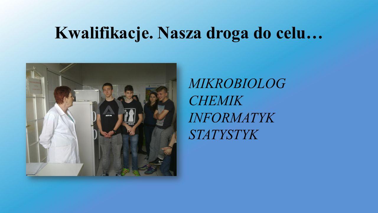 Kwalifikacje. Nasza droga do celu… MIKROBIOLOG CHEMIK INFORMATYK STATYSTYK