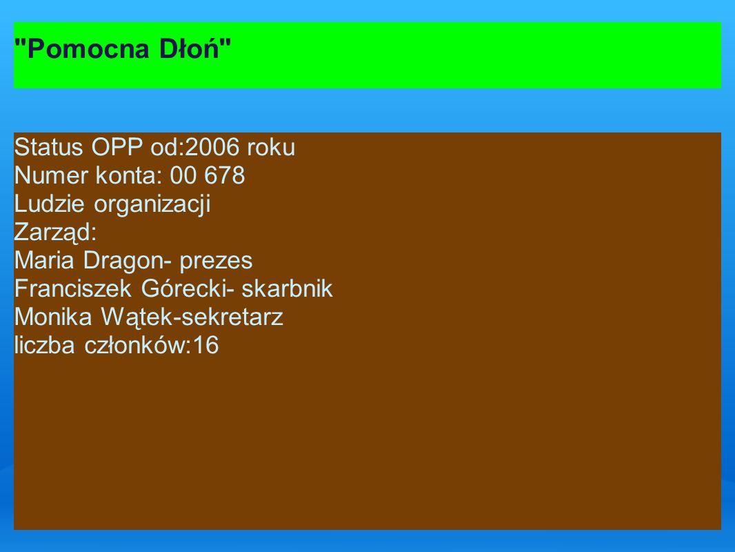 Pomocna Dłoń Status OPP od:2006 roku Numer konta: 00 678 Ludzie organizacji Zarząd: Maria Dragon- prezes Franciszek Górecki- skarbnik Monika Wątek-sekretarz liczba członków:16