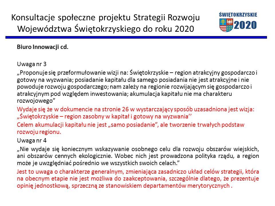 """Biuro Innowacji cd. Uwaga nr 3 """"Proponuje się przeformułowanie wizji na: Świętokrzyskie – region atrakcyjny gospodarczo i gotowy na wyzwania; posiadan"""
