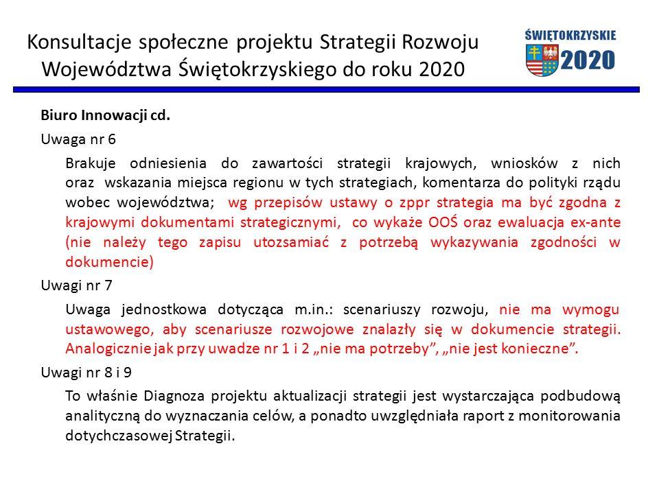 Biuro Innowacji cd. Uwaga nr 6 Brakuje odniesienia do zawartości strategii krajowych, wniosków z nich oraz wskazania miejsca regionu w tych strategiac