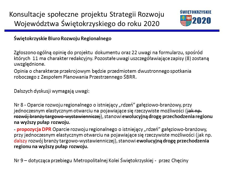 Świętokrzyskie Biuro Rozwoju Regionalnego Zgłoszono ogólną opinię do projektu dokumentu oraz 22 uwagi na formularzu, spośród których 11 ma charakter r