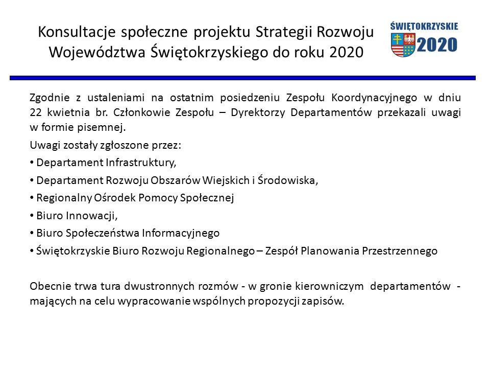 Konsultacje społeczne projektu Strategii Rozwoju Województwa Świętokrzyskiego do roku 2020 Zgodnie z ustaleniami na ostatnim posiedzeniu Zespołu Koordynacyjnego w dniu 22 kwietnia br.