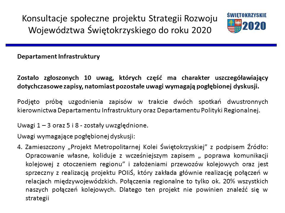 Konsultacje społeczne projektu Strategii Rozwoju Województwa Świętokrzyskiego do roku 2020 Departament Infrastruktury Zostało zgłoszonych 10 uwag, których część ma charakter uszczegóławiający dotychczasowe zapisy, natomiast pozostałe uwagi wymagają pogłębionej dyskusji.