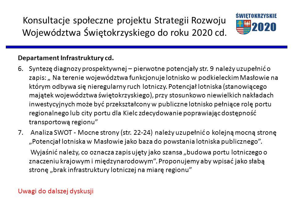 Konsultacje społeczne projektu Strategii Rozwoju Województwa Świętokrzyskiego do roku 2020 cd. Departament Infrastruktury cd. 6.Syntezę diagnozy prosp