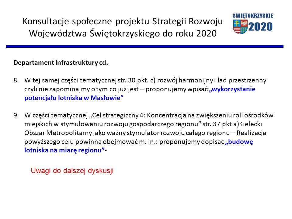 Konsultacje społeczne projektu Strategii Rozwoju Województwa Świętokrzyskiego do roku 2020 Departament Infrastruktury cd.