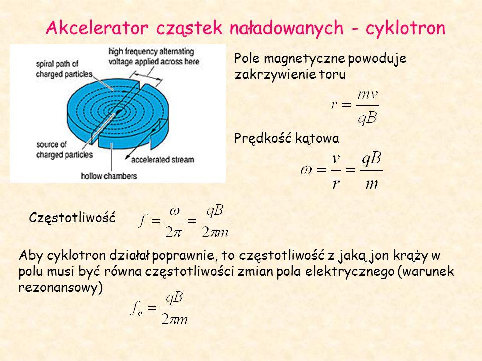 Pole magnetyczne powoduje zakrzywienie toru Prędkość kątowa Akcelerator cząstek naładowanych - cyklotron Częstotliwość Aby cyklotron działał poprawnie, to częstotliwość z jaką jon krąży w polu musi być równa częstotliwości zmian pola elektrycznego (warunek rezonansowy)
