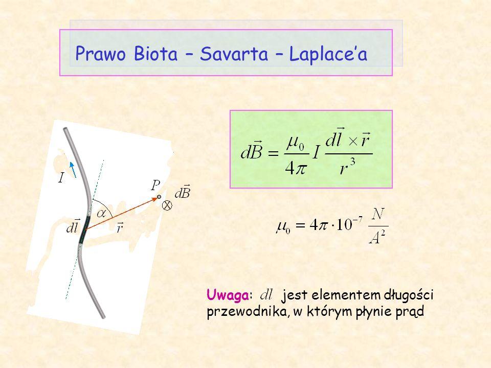 Prawo Biota – Savarta – Laplace'a Uwaga: jest elementem długości przewodnika, w którym płynie prąd