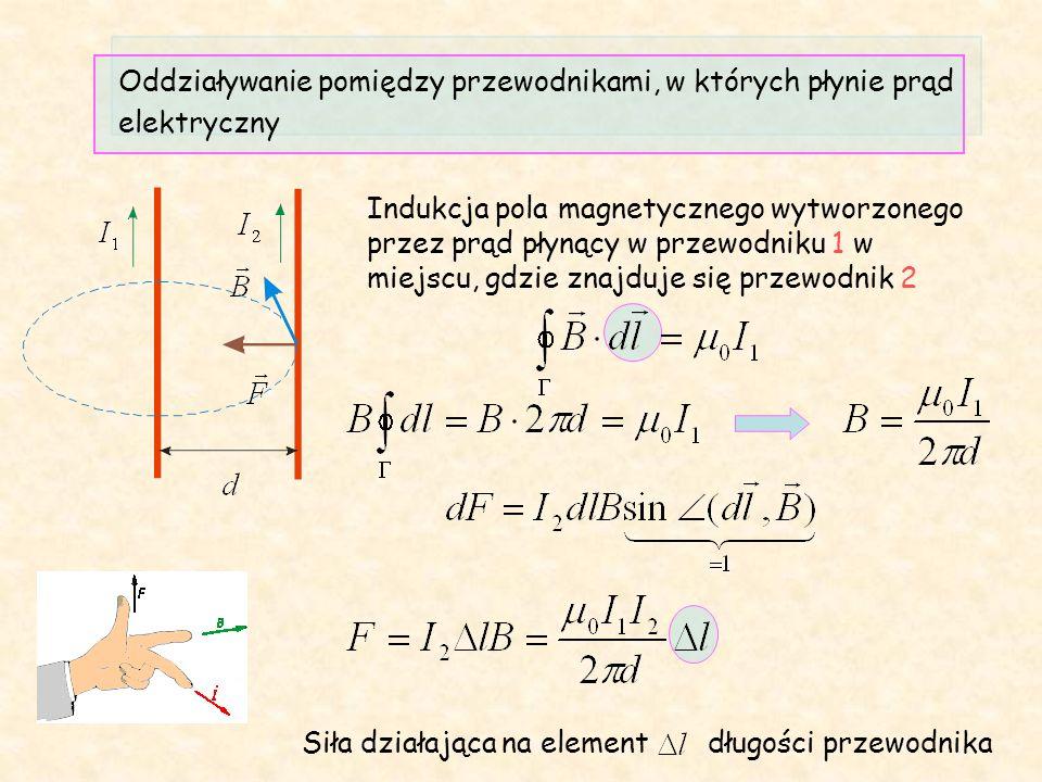 Oddziaływanie pomiędzy przewodnikami, w których płynie prąd elektryczny Indukcja pola magnetycznego wytworzonego przez prąd płynący w przewodniku 1 w miejscu, gdzie znajduje się przewodnik 2 Siła działająca na element długości przewodnika