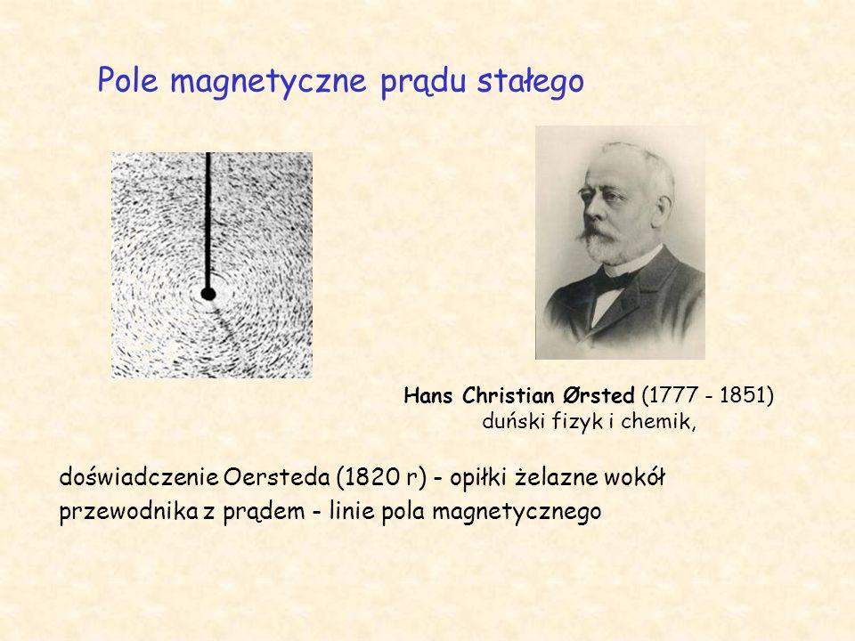 doświadczenie Oersteda (1820 r) - opiłki żelazne wokół przewodnika z prądem - linie pola magnetycznego Pole magnetyczne prądu stałego Hans Christian Ørsted (1777 - 1851) duński fizyk i chemik,