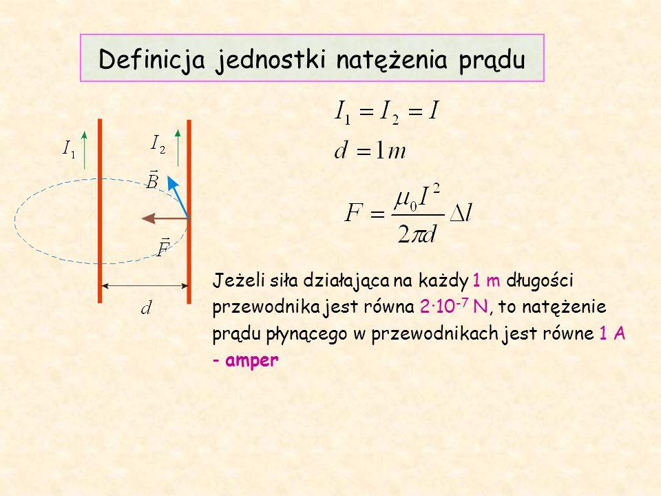 Definicja jednostki natężenia prądu Jeżeli siła działająca na każdy 1 m długości przewodnika jest równa 2·10 -7 N, to natężenie prądu płynącego w przewodnikach jest równe 1 A - amper