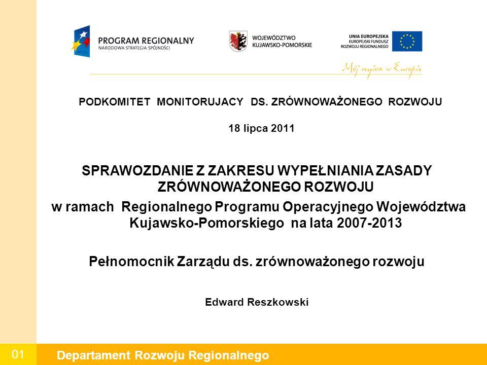 01 Departament Rozwoju Regionalnego PODKOMITET MONITORUJACY DS.