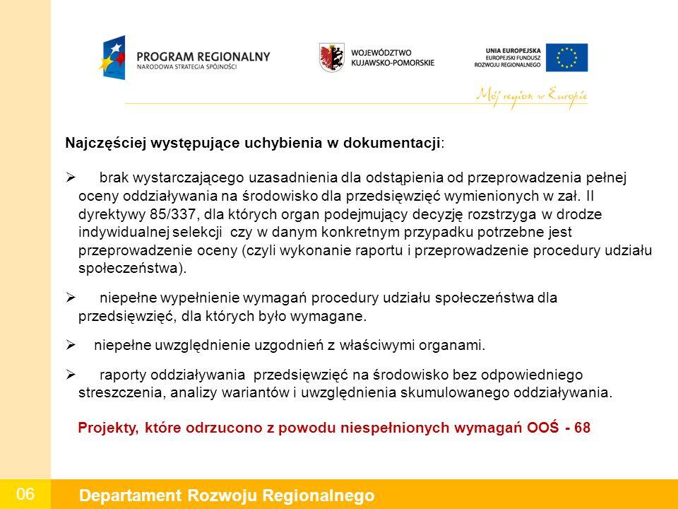 06 Departament Rozwoju Regionalnego Najczęściej występujące uchybienia w dokumentacji:  brak wystarczającego uzasadnienia dla odstąpienia od przeprowadzenia pełnej oceny oddziaływania na środowisko dla przedsięwzięć wymienionych w zał.