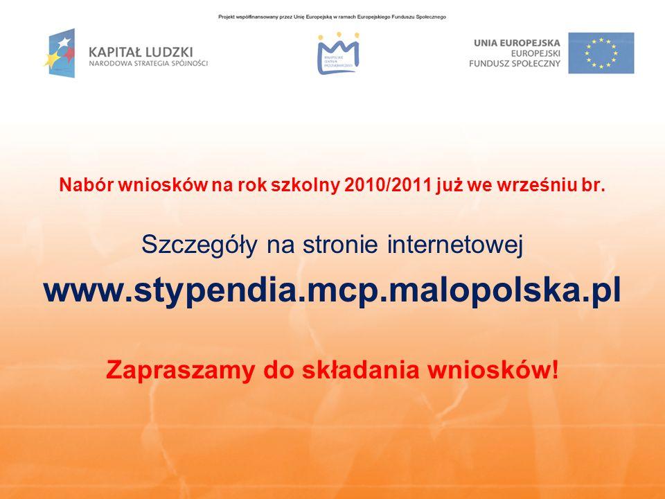 Nabór wniosków na rok szkolny 2010/2011 już we wrześniu br.