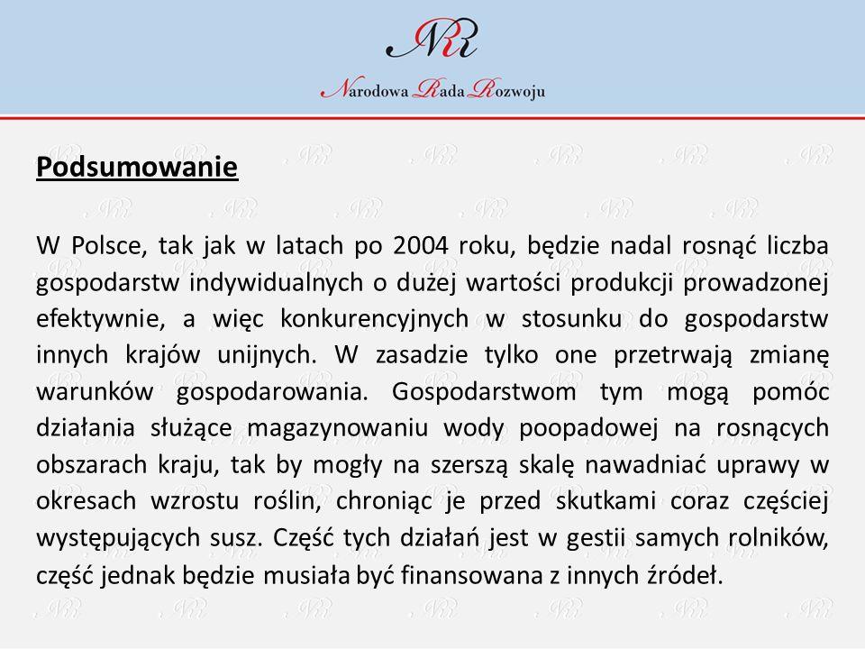 Podsumowanie W Polsce, tak jak w latach po 2004 roku, będzie nadal rosnąć liczba gospodarstw indywidualnych o dużej wartości produkcji prowadzonej efektywnie, a więc konkurencyjnych w stosunku do gospodarstw innych krajów unijnych.