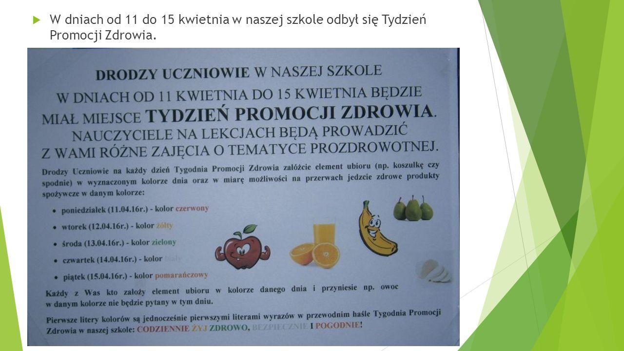  W dniach od 11 do 15 kwietnia w naszej szkole odbył się Tydzień Promocji Zdrowia.
