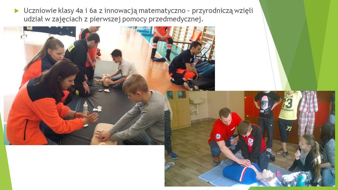  Uczniowie klasy 4a i 6a z innowacją matematyczno – przyrodniczą wzięli udział w zajęciach z pierwszej pomocy przedmedycznej.