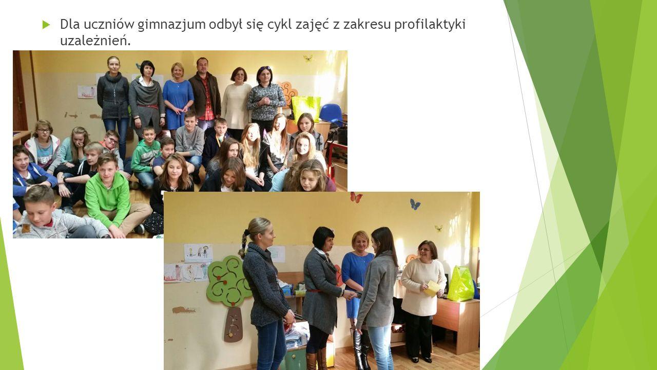 Dla uczniów gimnazjum odbył się cykl zajęć z zakresu profilaktyki uzależnień.