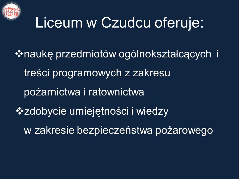 Liceum w Czudcu oferuje:  naukę przedmiotów ogólnokształcących i treści programowych z zakresu pożarnictwa i ratownictwa  zdobycie umiejętności i wiedzy w zakresie bezpieczeństwa pożarowego