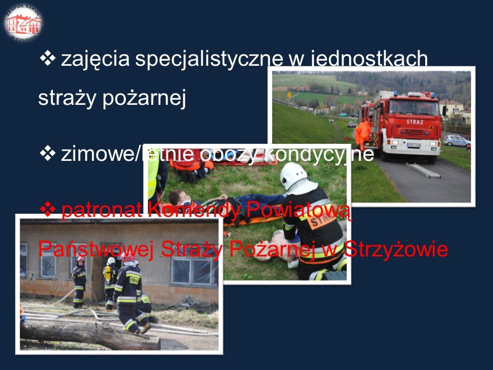  zajęcia specjalistyczne w jednostkach straży pożarnej  zimowe/letnie obozy kondycyjne  patronat Komendy Powiatową Państwowej Straży Pożarnej w Strzyżowie