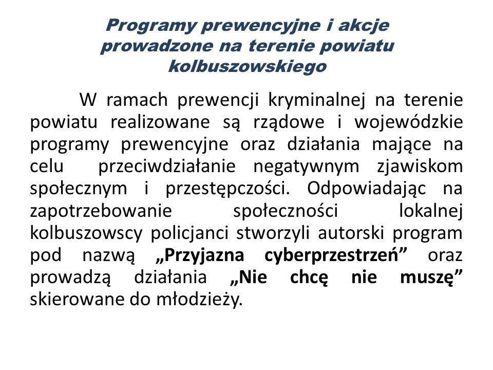 Programy prewencyjne i akcje prowadzone na terenie powiatu kolbuszowskiego W ramach prewencji kryminalnej na terenie powiatu realizowane są rządowe i wojewódzkie programy prewencyjne oraz działania mające na celu przeciwdziałanie negatywnym zjawiskom społecznym i przestępczości.