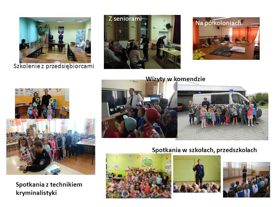Szkolenie z przedsiębiorcami Z seniorami Na półkoloniach Wizyty w komendzie Spotkania w szkołach, przedszkolach Spotkania z technikiem kryminalistyki