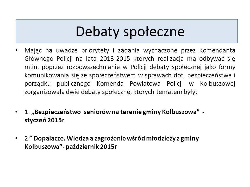 Debaty społeczne Mając na uwadze priorytety i zadania wyznaczone przez Komendanta Głównego Policji na lata 2013-2015 których realizacja ma odbywać się m.in.