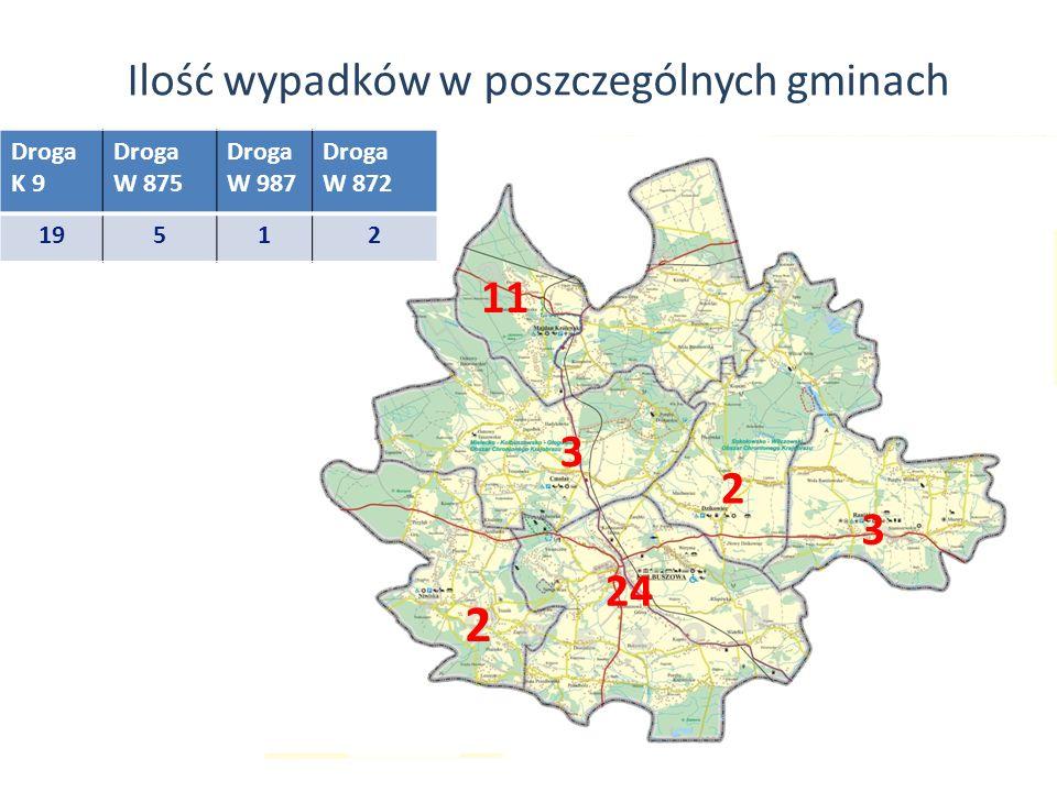 Ilość wypadków w poszczególnych gminach 11 2 3 2 3 24 Droga K 9 Droga W 875 Droga W 987 Droga W 872 19512