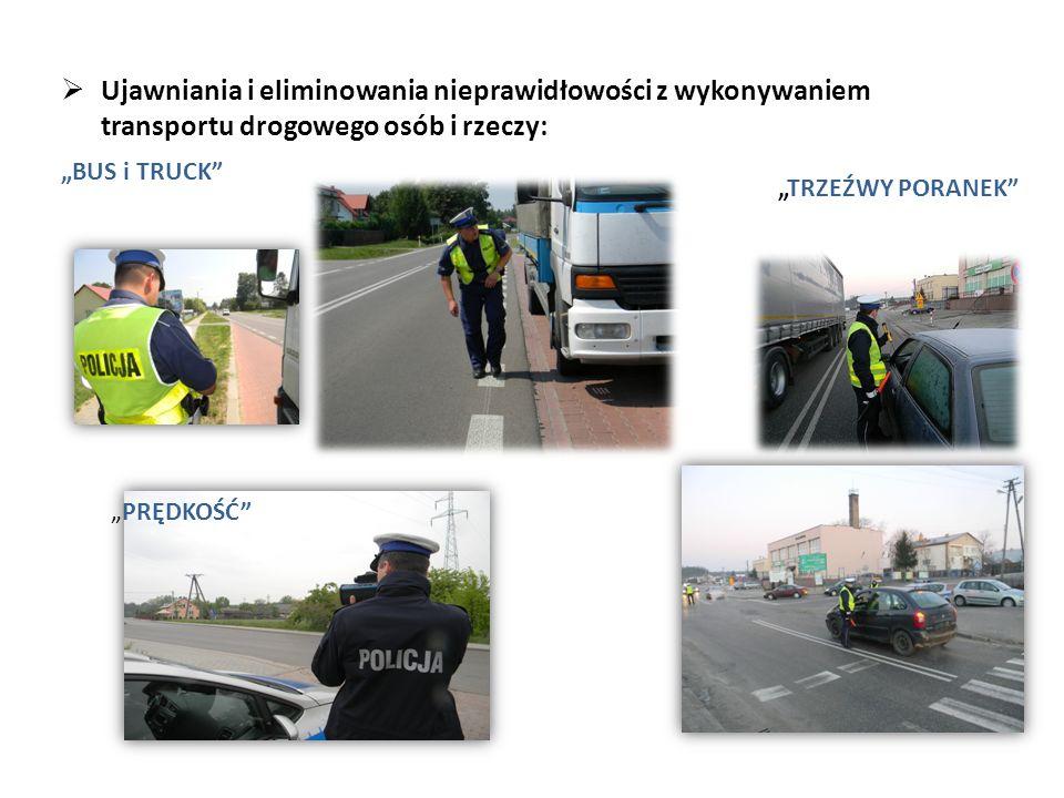 """ Ujawniania i eliminowania nieprawidłowości z wykonywaniem transportu drogowego osób i rzeczy: """"BUS i TRUCK """"TRZEŹWY PORANEK """"PRĘDKOŚĆ"""
