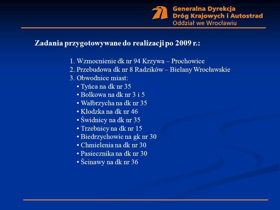 Zadania przygotowywane do realizacji po 2009 r.: 1. Wzmocnienie dk nr 94 Krzywa – Prochowice 2. Przebudowa dk nr 8 Radzików – Bielany Wrocławskie 3. O