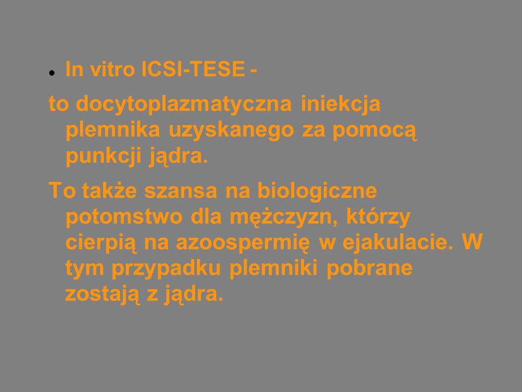 In vitro ICSI-TESE - to docytoplazmatyczna iniekcja plemnika uzyskanego za pomocą punkcji jądra.
