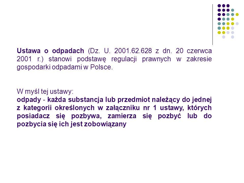 Ustawa o odpadach (Dz.U. 2001.62.628 z dn.