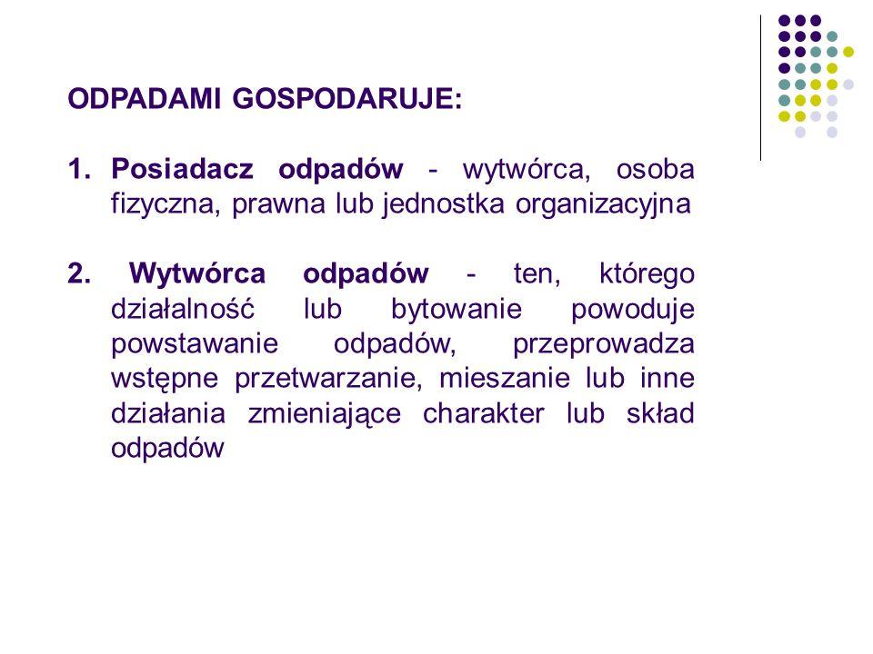 ODPADAMI GOSPODARUJE: 1.Posiadacz odpadów - wytwórca, osoba fizyczna, prawna lub jednostka organizacyjna 2.