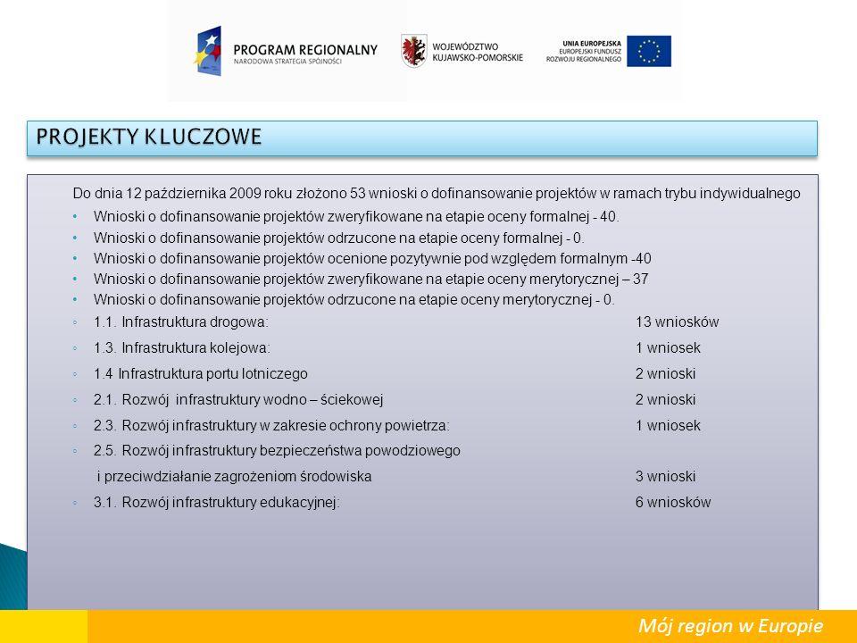 Do dnia 12 października 2009 roku złożono 53 wnioski o dofinansowanie projektów w ramach trybu indywidualnego Wnioski o dofinansowanie projektów zwery