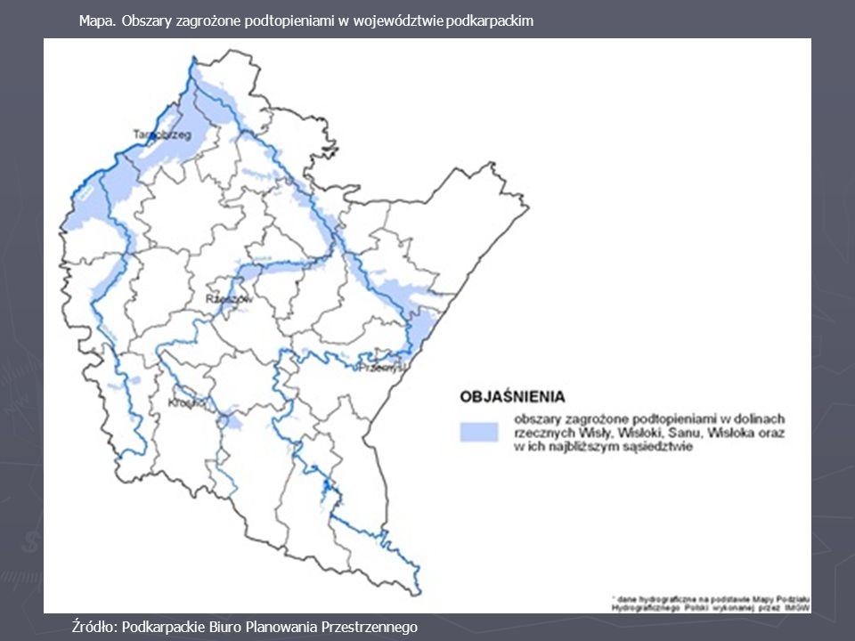 Źródło: Podkarpackie Biuro Planowania Przestrzennego Mapa. Obszary zagrożone podtopieniami w województwie podkarpackim