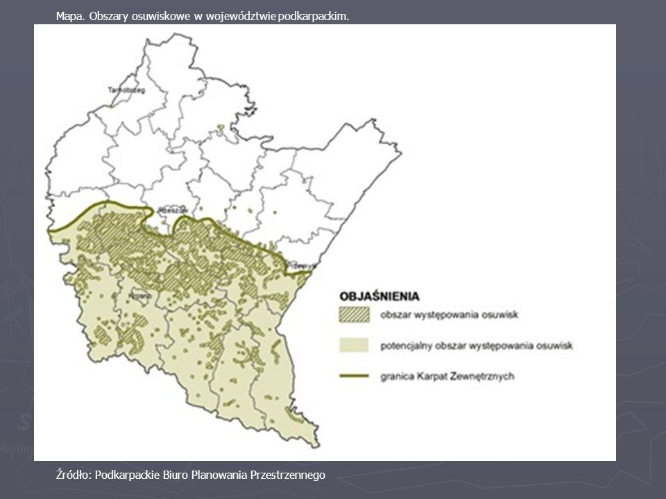 Mapa. Obszary osuwiskowe w województwie podkarpackim. Źródło: Podkarpackie Biuro Planowania Przestrzennego