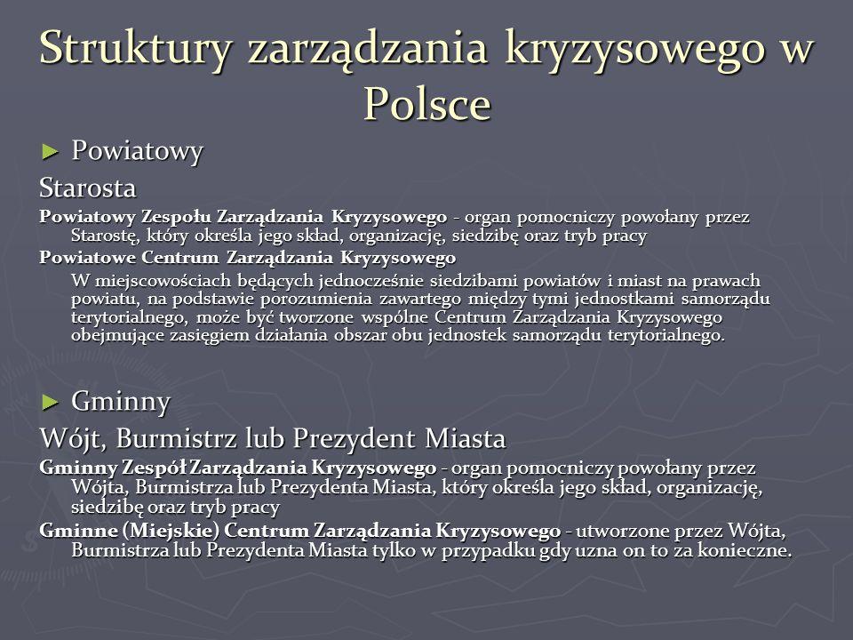 Struktury zarządzania kryzysowego w Polsce ► Powiatowy Starosta Powiatowy Zespołu Zarządzania Kryzysowego - organ pomocniczy powołany przez Starostę,