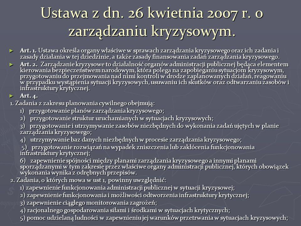 Ustawa z dn. 26 kwietnia 2007 r. o zarządzaniu kryzysowym. ► Art. 1. Ustawa określa organy właściwe w sprawach zarządzania kryzysowego oraz ich zadani