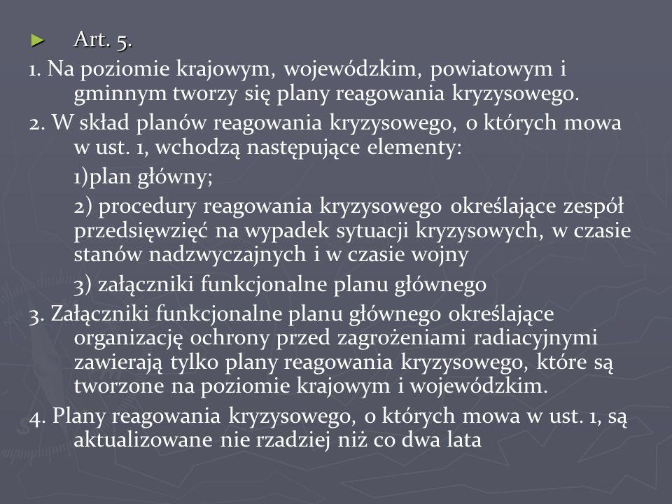 ► Art. 5. 1. Na poziomie krajowym, wojewódzkim, powiatowym i gminnym tworzy się plany reagowania kryzysowego. 2. W skład planów reagowania kryzysowego