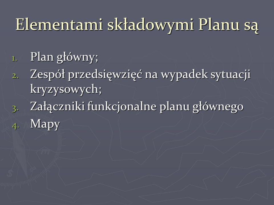 Elementami składowymi Planu są 1. Plan główny; 2. Zespół przedsięwzięć na wypadek sytuacji kryzysowych; 3. Załączniki funkcjonalne planu głównego 4. M