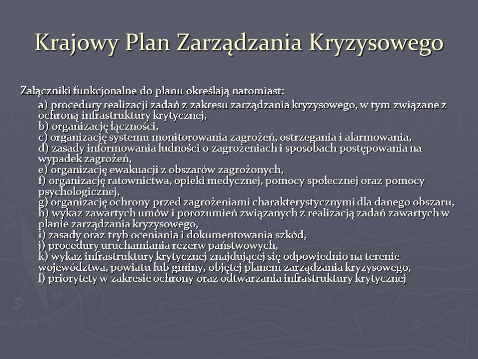 Struktury zarządzania kryzysowego w Polsce ► Krajowy Rada Ministrów z Prezesem Rady Ministrów na czele Rządowy Zespół Zarządzania Kryzysowego - organ opiniodawczo-doradczy właściwy w sprawach inicjowania i koordynowania działań podejmowanych w zakresie zarządzania kryzysowego Rządowe Centrum Bezpieczeństwa podległe Prezesowi Rady Ministrów - zapewnia obsługę Rady Ministrów, Prezesa Rady Ministrów, Zespołu i Ministra właściwego do spraw wewnętrznych w sprawach zarządzania kryzysowego oraz pełni funkcję Krajowego Centrum Zarządzania Kryzysowego ► Wojewódzki Wojewoda Wojewódzki Zespół Zarządzania Kryzysowego - organ pomocniczy wojewody powoływany przez wojewodę, który określa jego skład, organizację, siedzibę oraz tryb pracy Wojewódzkie Centrum Zarządzania Kryzysowego, którego obsługę zapewniają komórki organizacyjne właściwe w sprawach zarządzania kryzysowego w urzędach wojewódzkich