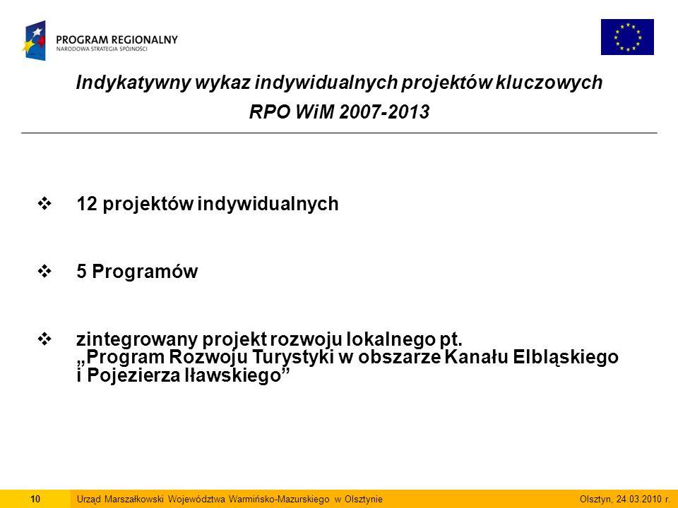 Indykatywny wykaz indywidualnych projektów kluczowych RPO WiM 2007-2013 10Urząd Marszałkowski Województwa Warmińsko-Mazurskiego w Olsztynie Olsztyn, 24.03.2010 r.