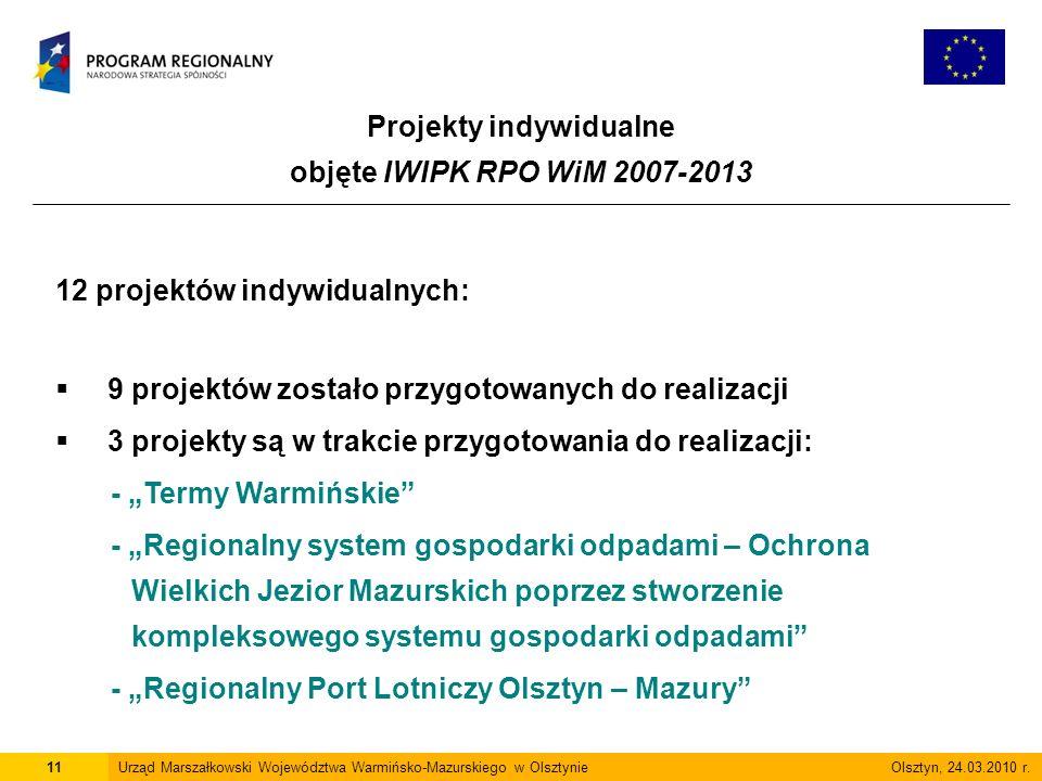 Projekty indywidualne objęte IWIPK RPO WiM 2007-2013 11Urząd Marszałkowski Województwa Warmińsko-Mazurskiego w Olsztynie Olsztyn, 24.03.2010 r.