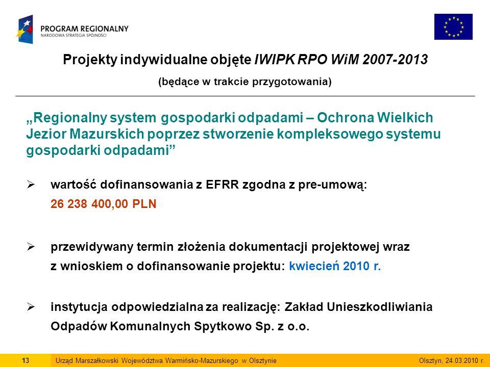 Projekty indywidualne objęte IWIPK RPO WiM 2007-2013 (będące w trakcie przygotowania) 13Urząd Marszałkowski Województwa Warmińsko-Mazurskiego w Olsztynie Olsztyn, 24.03.2010 r.