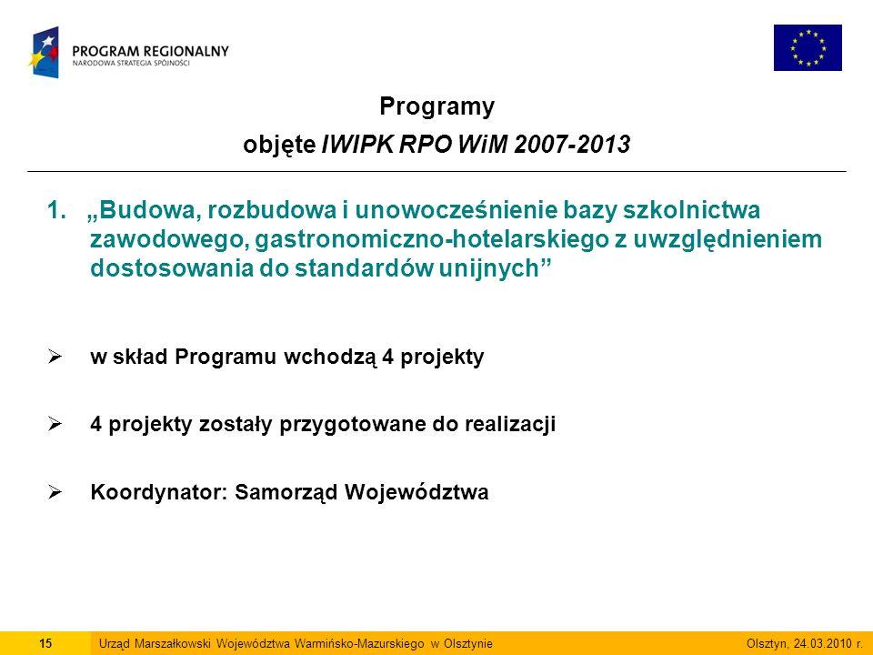 Programy objęte IWIPK RPO WiM 2007-2013 15Urząd Marszałkowski Województwa Warmińsko-Mazurskiego w Olsztynie Olsztyn, 24.03.2010 r.